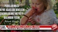 """MHP'li Senirli: """"Parklara Meyve Ağaçları Dikilsin!"""""""