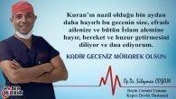 Beyin Cerrahı Op.Dr. Süleyman Coşkun'un Kandil Mesajı