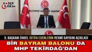 MHP Tekirdağ İl Başkanı Önsel İstifa Edenlerin Resmi Sayısını Açıkladı!