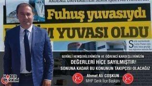 """MHP İlçe Başkanı Coşkun'dan O Habere Sert Tepki """"Takipçisi Olacağız!"""""""