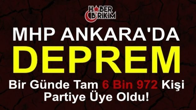 MHP'ye Dev Katılım Bir Günde Tam 6 Bin 972 Yeni Üye!
