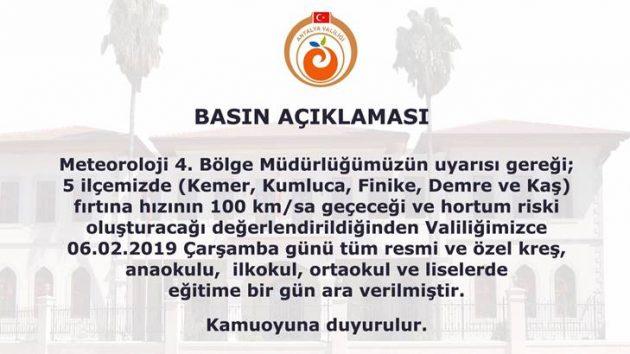 Antalya'da 5 İlçede Okullar Tatil Edildi